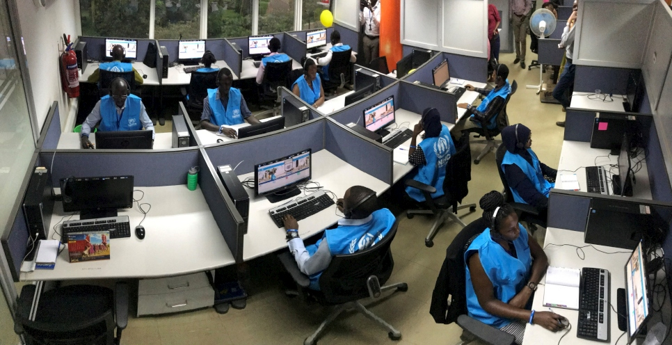 A new call centre for refugees and asylum seekers is set up and operational in Kampala, Uganda. The centre will receive and respond to calls from persons of concern.  © UNHCR/Yonna Tukundane