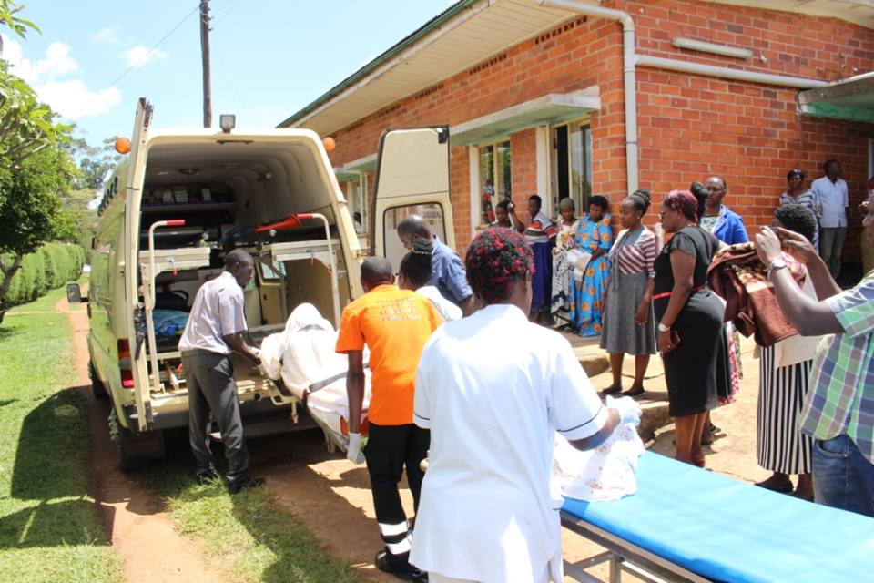 The students nursing severe burns being moved to Kitovu Hospital (PML Daily PHOTO)