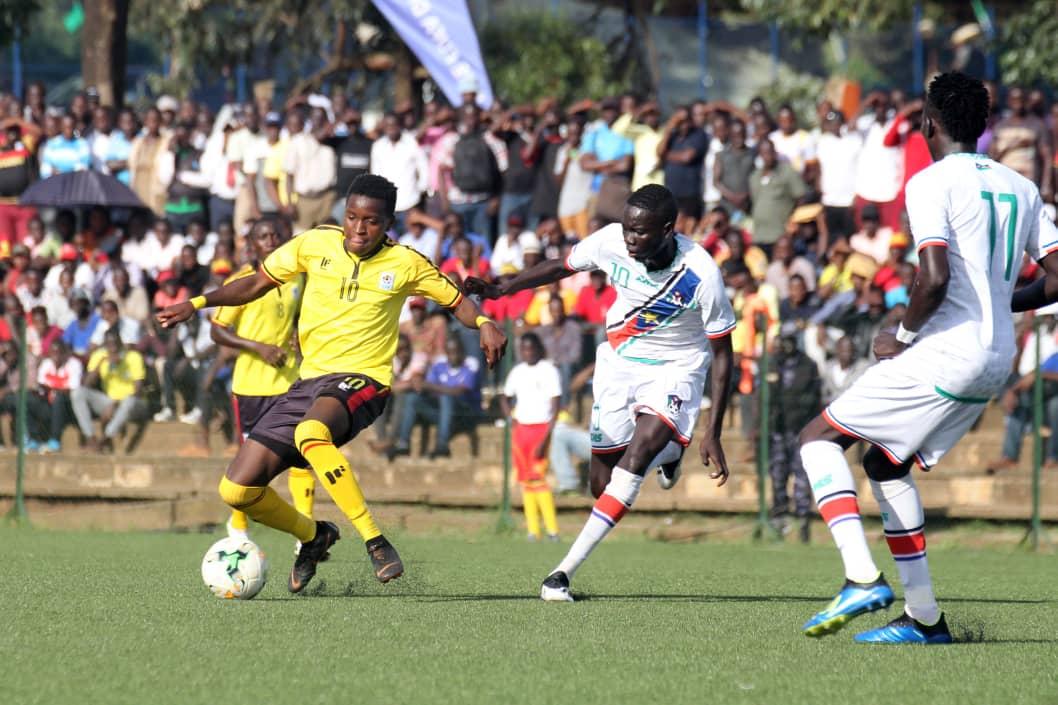Allan Okello (left) in action against South Sudan (photos by FUFA Media)