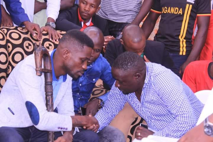 (L-R) Bobi Wine, Ronald Mayinja and Geoffrey Lutaaya in Lusanja. The artistes and 6 others declared their intentions to vie for MP in their respective constituencies come 2021 (FILE PHOTO)