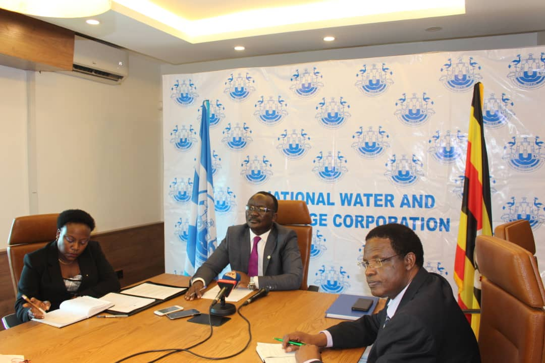 NWSC Managing Director, Dr Eng Silver Mugisha unveiled the taskforcing to unearth culprits in water Pollution (PML DaIly PHOTO)