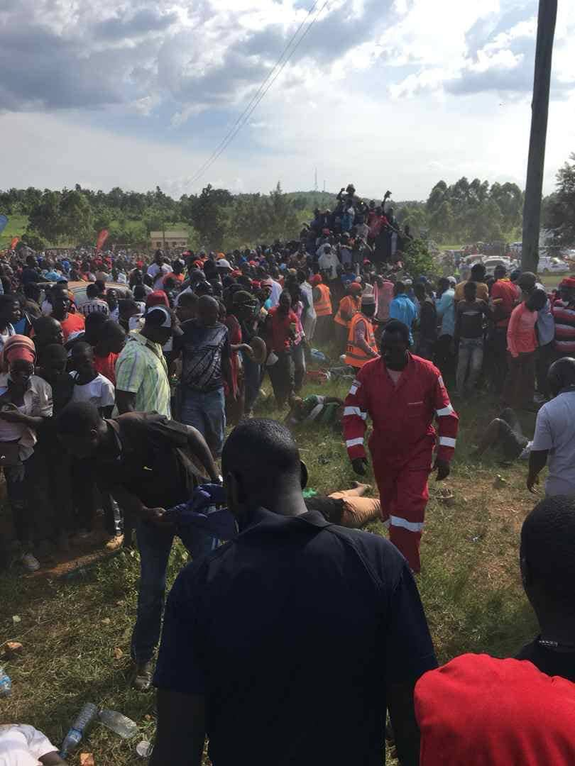 A rally, on Sunday, lost control and rammed into the spectators at a Busiika rally (PML,Daily PHOTO)