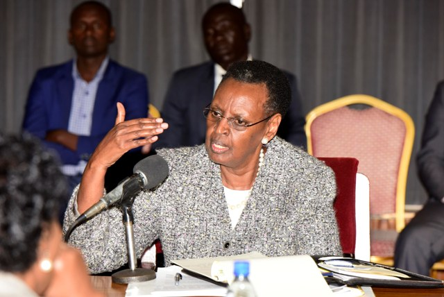 First Lady and Minister of Education and Sports Janet Museveni appearing before the