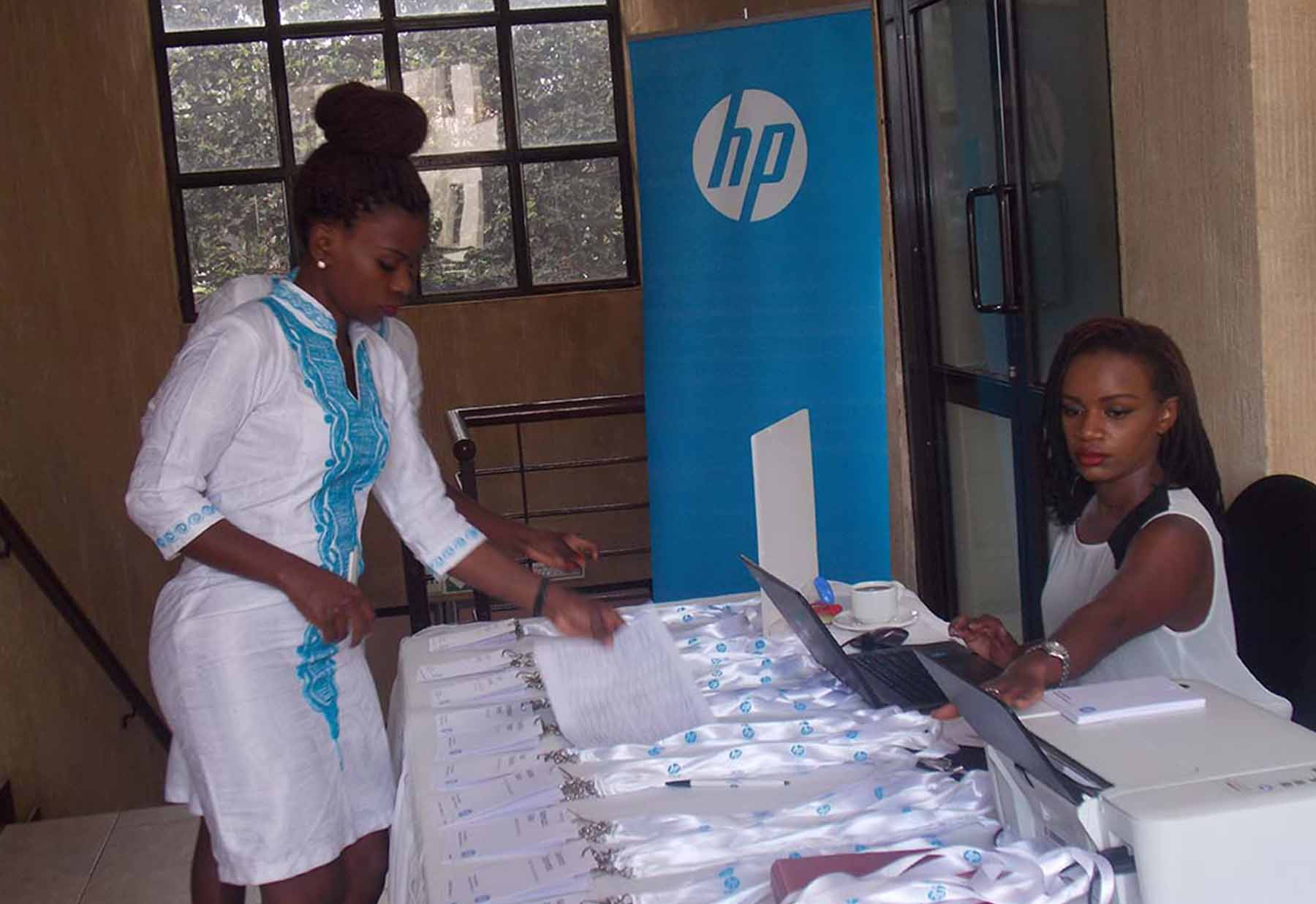 HP Uganda sales executive showcase some of the new HP Products on the Uganda Market. HP has partnered with UNBS to stamp out counterfeits that have clogged the market (FILE PHOTO)