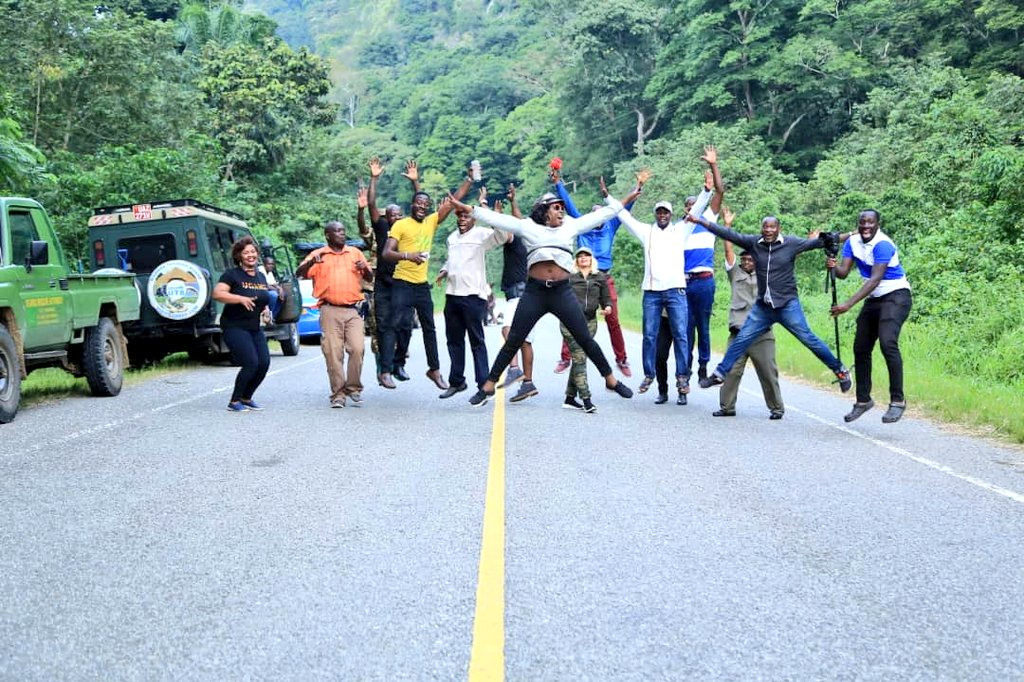 Socialite Zari, songstress Iryn Namubiru, Hon KiwandaSsuubi, and others perform a jump challenge in Kibale National Park in the ongoing Tulambule Uganda ne Zari campaign. (PML DAILY PHOTO)