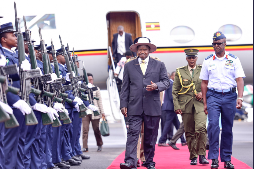 President Yoweri Museveni arrive in Capital Nairobi for a day long conference