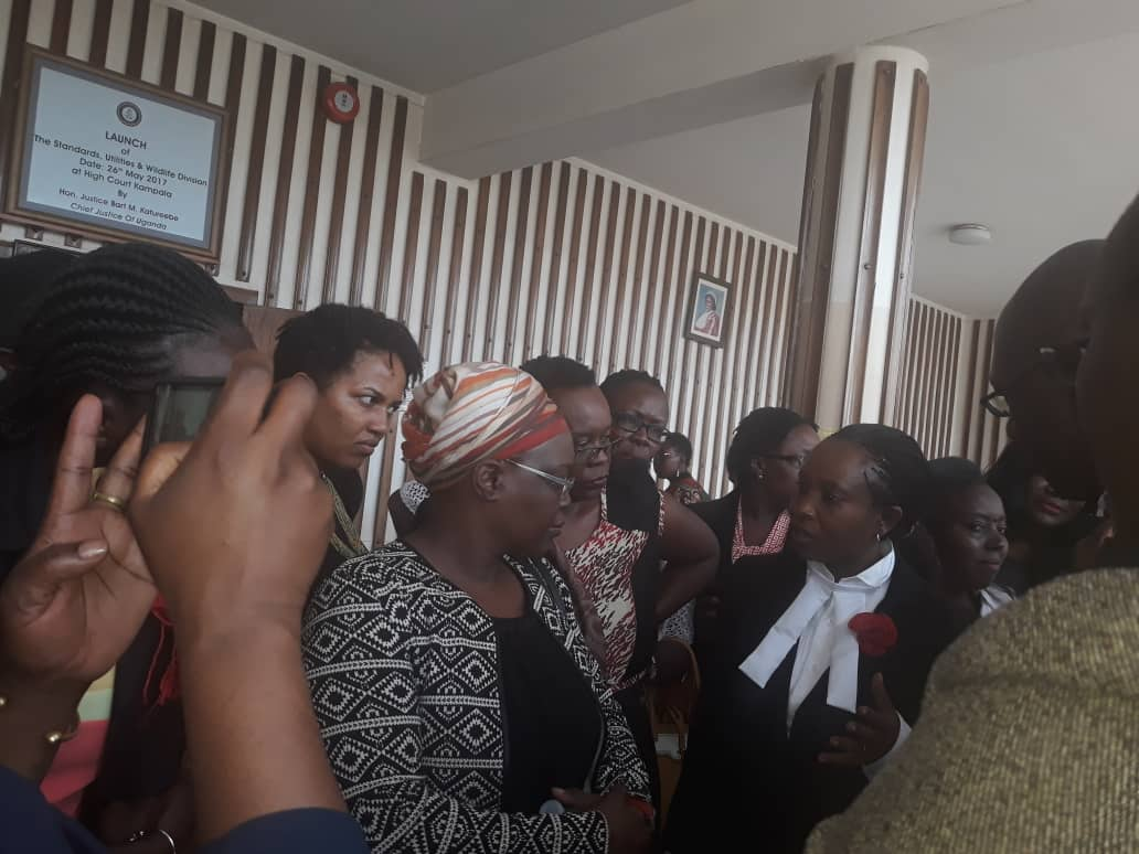 Women activititis have flocked Buganda Road Court to render support to Kabarole MP Sylvia Rwaboogo in her hearing this afternoon (PML Daily PHOTO)