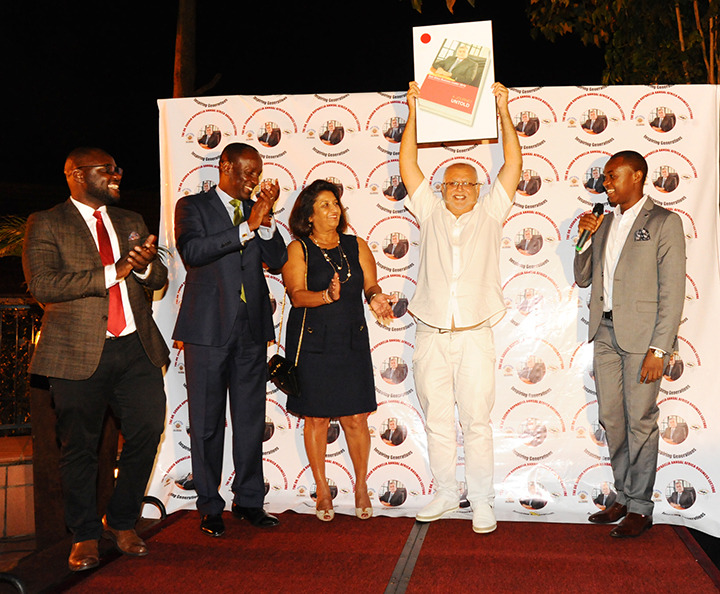 Mr Ruparelia accepts the  East African Business Leader Award of 2018 at Kabira on Friday night (PML Daily PHOTO)