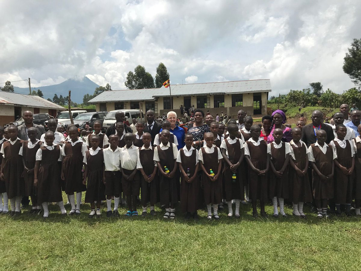 US Ambassador, Ms Deborah Malac shared a group photo with pupils of Gatabi P/S at  the launch the USAID Integrated Community Agriculture and Nutrition Activity in Kisoro to strengthen poor households in Uganda (US EMBASSY PHOTO)