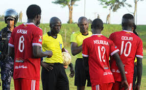 Some of the Express players talking to the officials after Wednesday's draw with Vipers (Agency Photo)