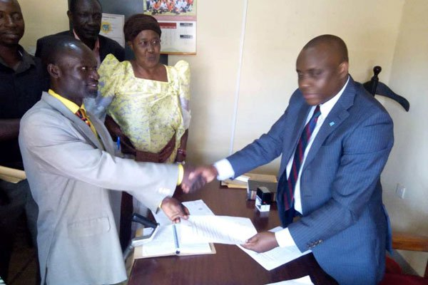 Mr Umar Kiyimba the district returning officer on November 26, 2018 declared Independent candidate, Geoffrey Wandera, unopposed after his two opponents withdrew from the race