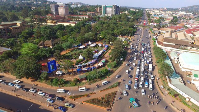 An Aerial view of Jinja road showing traffic flow (NWSC PHOTO)