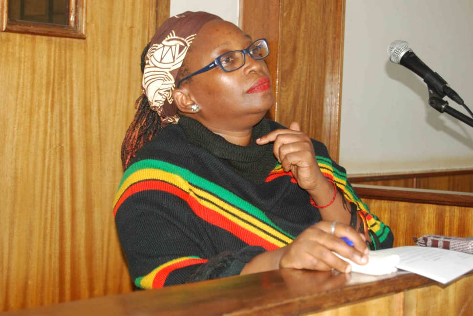 Dr. Stellah Nyanzi in court. (Photo by Recheal Agaba)