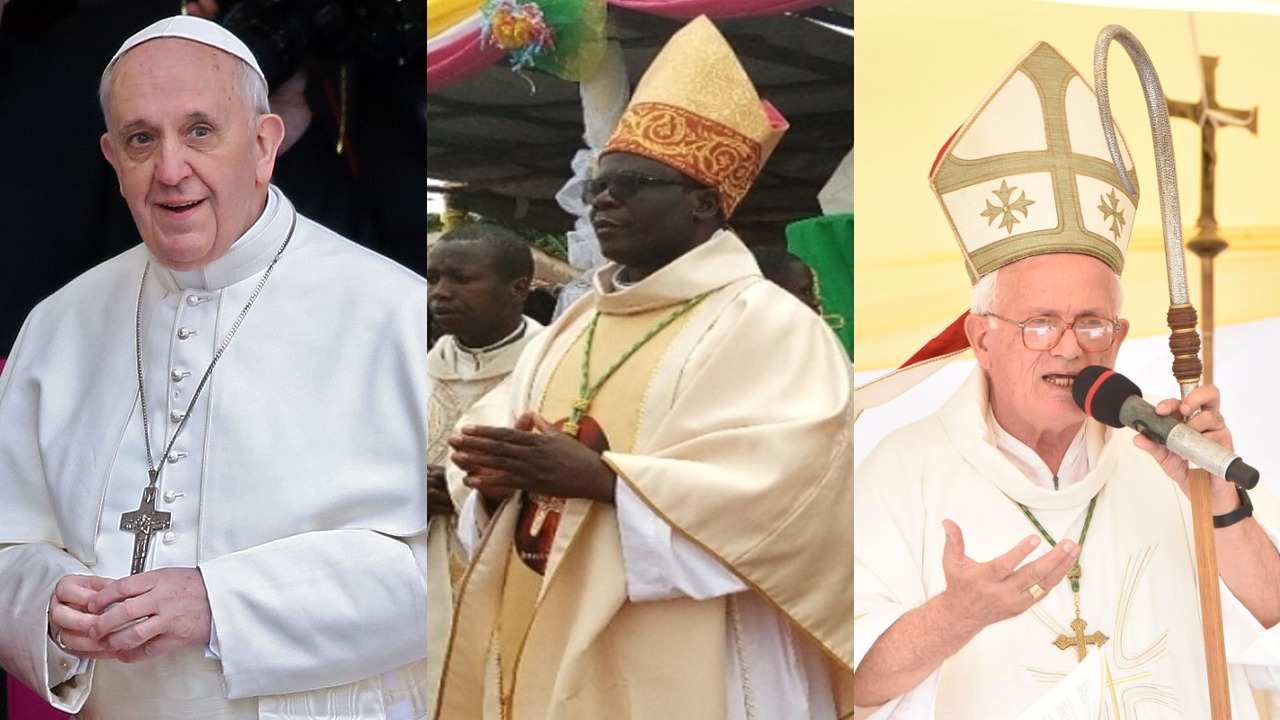 Pope Francis (L) has appointed Bishop Sanctus Lino Wanok of Nebbi (C), as the new Bishop of Lira, replacing Bishop Joseph Franzelli (R) who has retired (FILE PHOTO)
