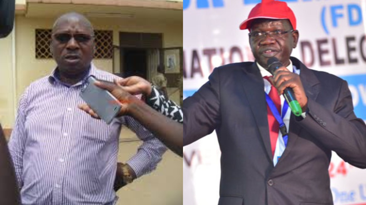 Police has sealed off the residence and hotel of Western Region FDC Chairman Stanley (L) Katembeya in search for Party president Patrick Amuriat (R) and Buhweju MP Francis Mwijukye (PML Daily PHOTO MONTAGE)