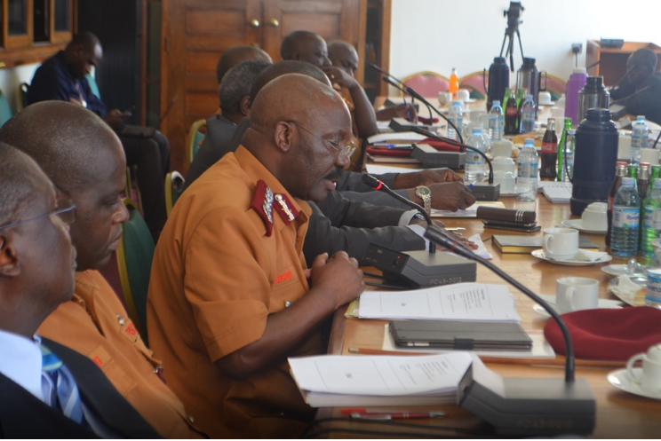 Commissioner General of Prisons Dr. Johnson Byabashaija appears before Members of Parliament recently (PHOTO/File)