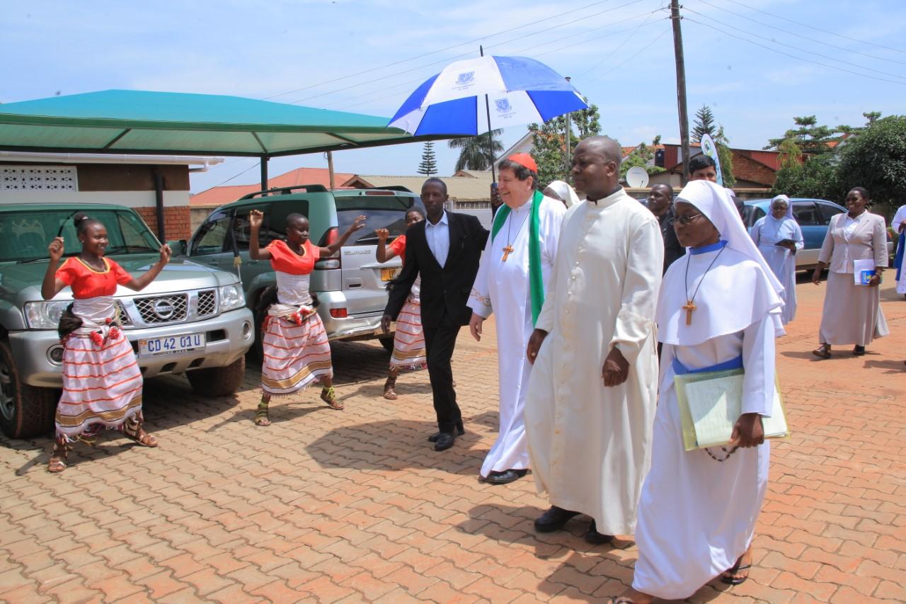 Cardinal de Aviz arrives at ARU headquarters in Nsambya on Saturday. (PML Daily PHOTO)