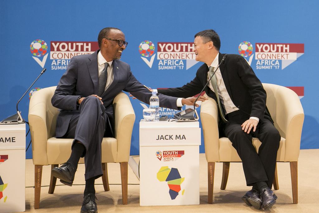 Rwanda President Paul Kagame and Alibaba Group Executive Chairman Jack Ma share a light moment