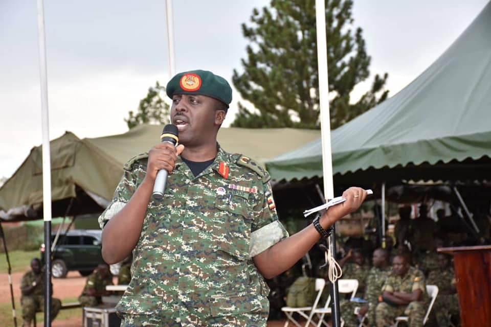 Commander of the Defence Forces (UPDF), Gen David Muhoozi addresses the forces (UPDF PHOTO)