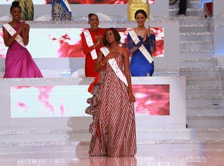 Miss World Africa, Quiin Abenakyo (Miss Uganda) gives remarks in joy for making top 5 in Miss World 2018 (MISS WORLD PHOTO)