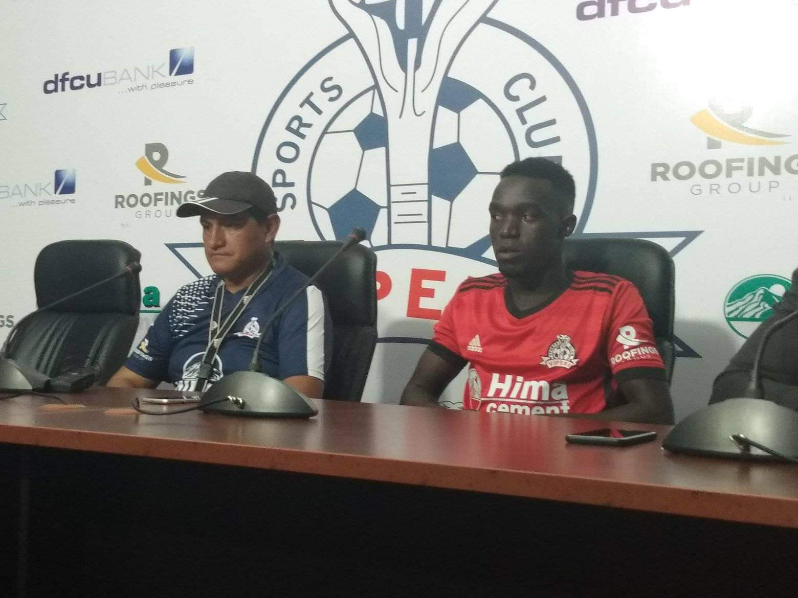 Javier Martinez (left) and Viper's defender Geoffrey Wasswa (right) during the Pre-match press conference on Friday (Photo by Shaban Lubega)