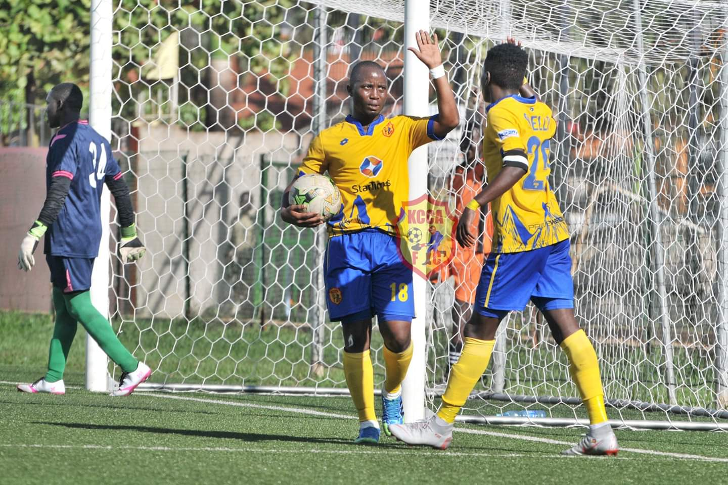 Mutyaba (left) and Okello (right) celebrate one of the goals against Amuka Bright Stars (Photos by KCCA Media)