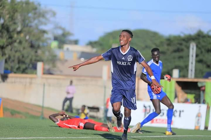 Mugume celebrates scoring the winner against Kirinya on Sunday