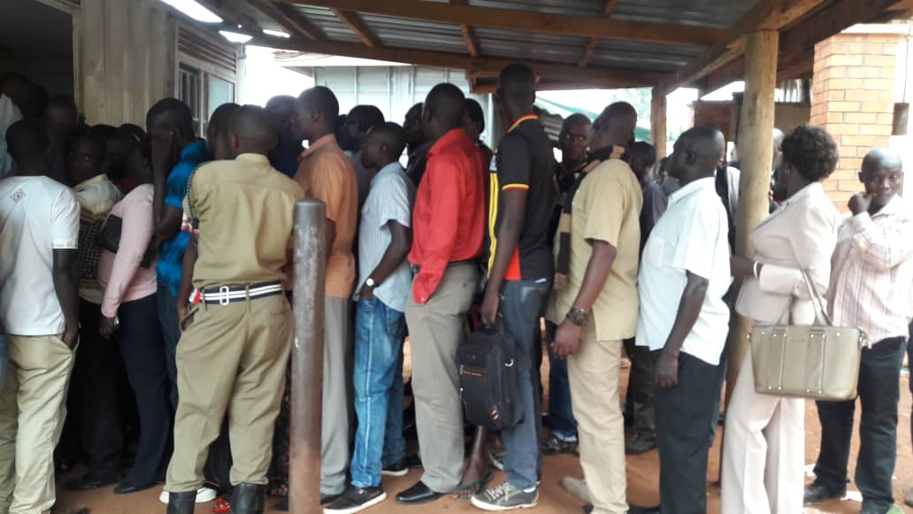 Police officers have Wednesday afternoon stormed the Police Headquarters in Naguru and purged into Exodus SACCO for not remitting their savings (PML Daily PHOTO)