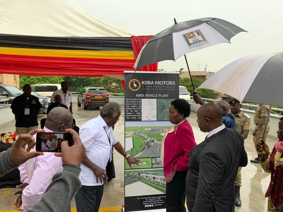 Kiira Motors official explains to Speaker Rebecca Kadaga the company future plans as she toured innovators Thursday, December 11 (PHOTO BY JAVIRA SSEBWAMI)