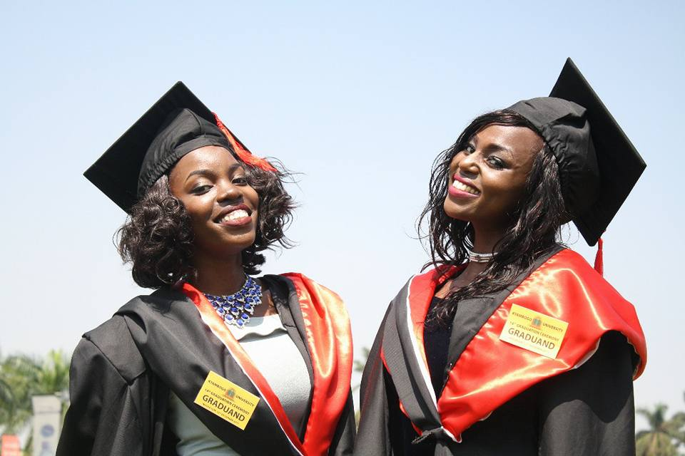 Graduands share a light moment. Over 7,300 students are set to graduate at Kyambogo University starting Wednesday December 12, to Friday (FILE PHOTO)