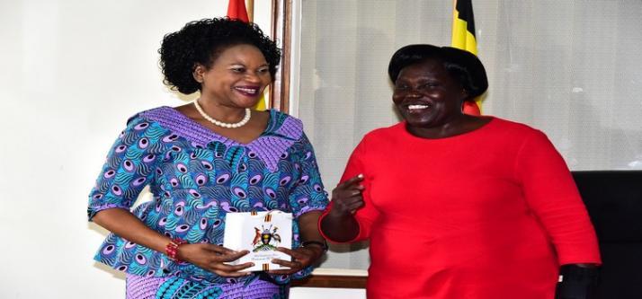 LoP Hon. Betty Aol Ochan shares light moment with Malawi Deputy Speaker Esther Mcehka Chilenje