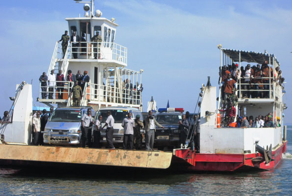 MV Kalangala prepare to dock with vehicles and travellers on board (FILE PHOTO)