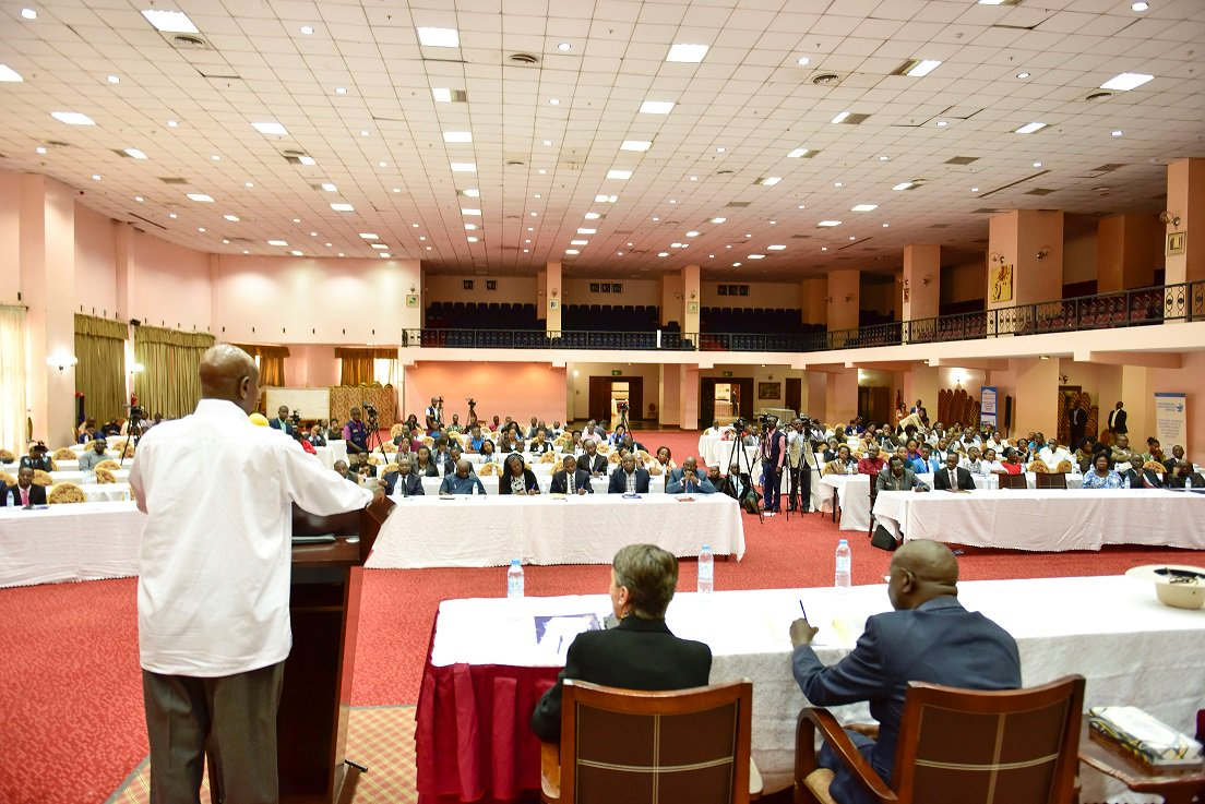 President Museveni speaks at the 25th anniversary of Transparency International Uganda. (TIU) Thursday Dec. 6. His remarks on corruption drew mixed reactions (PHOTO/PML Daily)