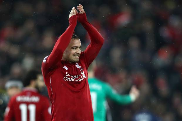 Shaqiri scored twice as Liverpool defeated United on Sunday (Photo by Agency)