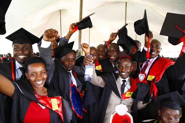 Students celebrate during their graduation ceremony at Makerere University. (FILE PHOTO)