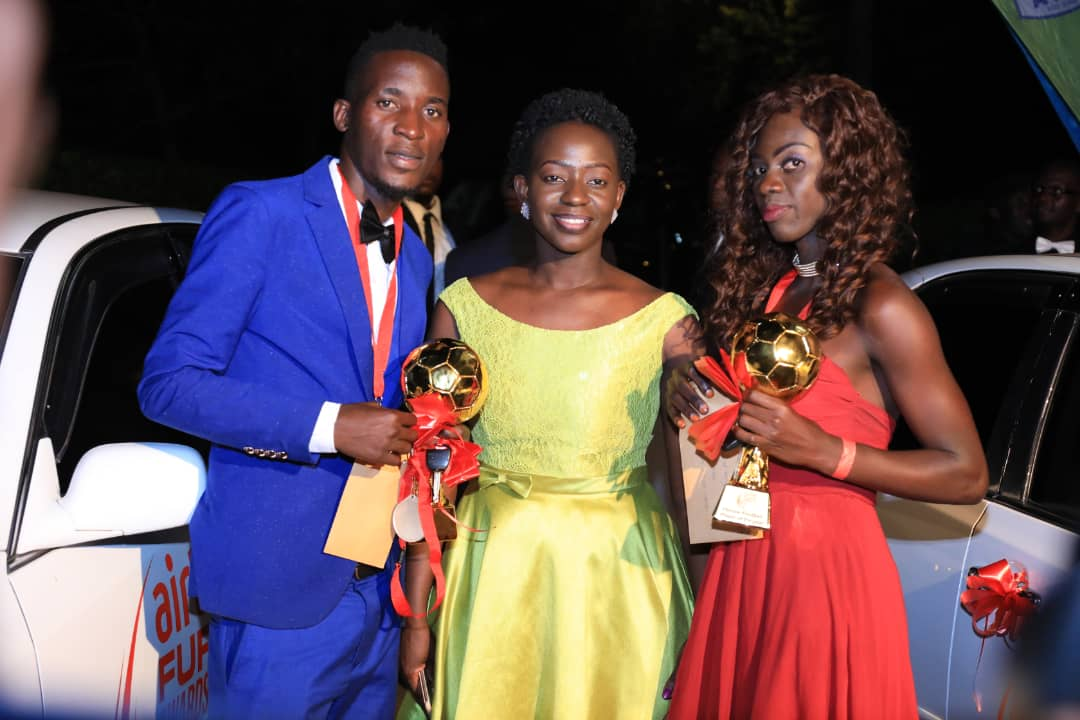 Waiswa (right) and Aturo (left) were crowned Male and Female players of 2018/19 respectively (Photos by FUFA Media)