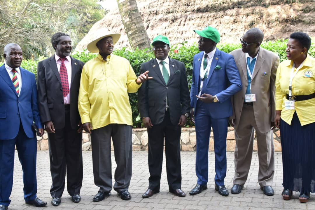 President Museveni is joined by UPC's Jimmy Akena, Jeema's Asuman Basalirwa and NRM SG Kasule Lumumba and other party leaders (PML Daily PHOTO)