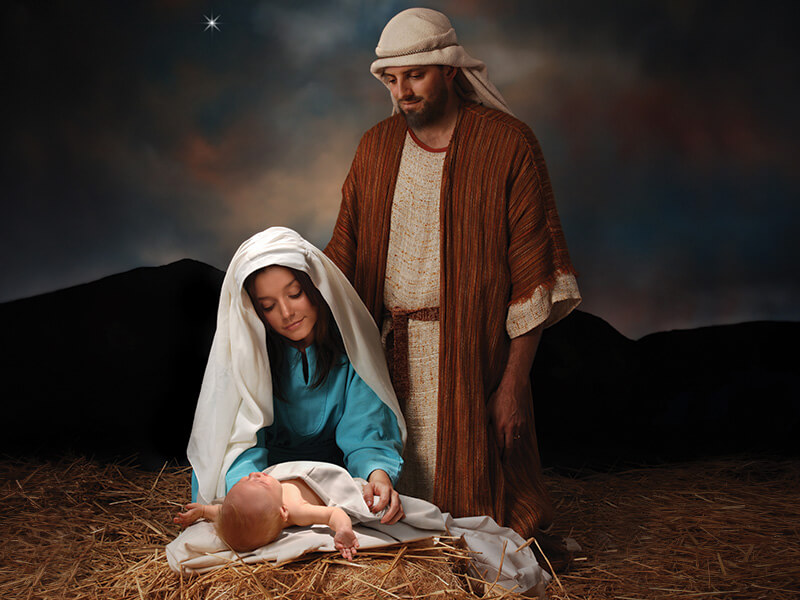 """It's about 2,000 years ago, the evening of December 25. Mary rides into Bethlehem on a donkey with Joseph, urgently needing to deliver her baby. Read more at https://www.beliefnet.com/faiths/christianity/5-greatest-myths-about-jesus-christs-birth.aspx"