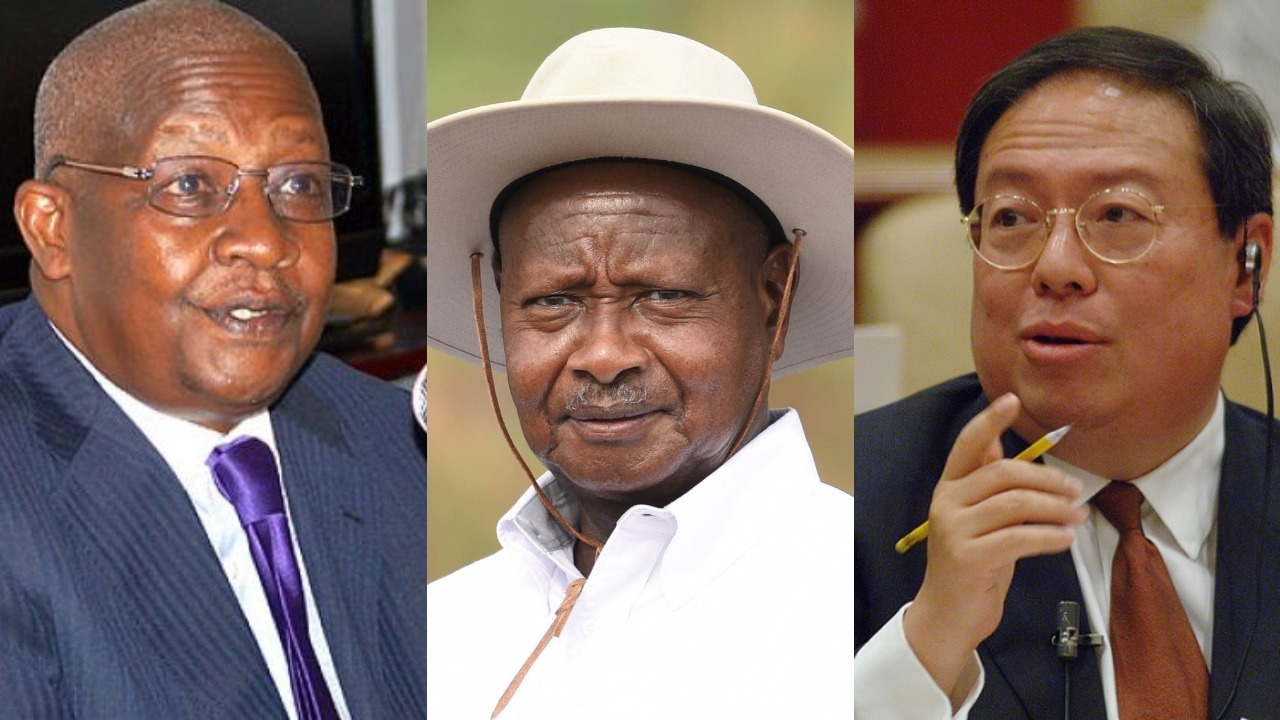 President Museveni (C) revealed that Affairs minister Sam Kutesa must answer allegations that he received a $500,000 (Shs1.8 billion)bribe from a Chinese company (FILE PHOTO)