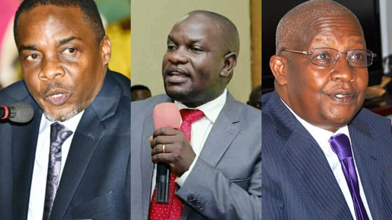 Legislators led by Paul Mwiru (MP Jinja Municipality) have protested a move by the Attorney General, William Byaruhanga (L) to investigate Foreign Minister, Sam Kutesa (R) over the bribery allegations (PML Daily MONTAGE)