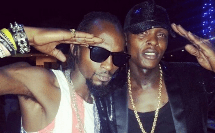 Jose Chameleone (R) with late singer Mowzey Radio. (FILE PHOTO)