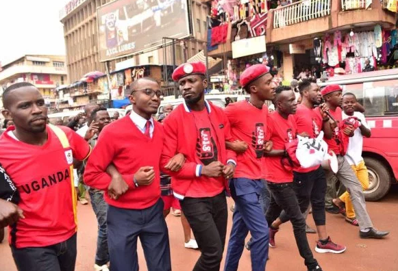 Bobi Wine and his group protesting social media tax. (FILE PHOTO)