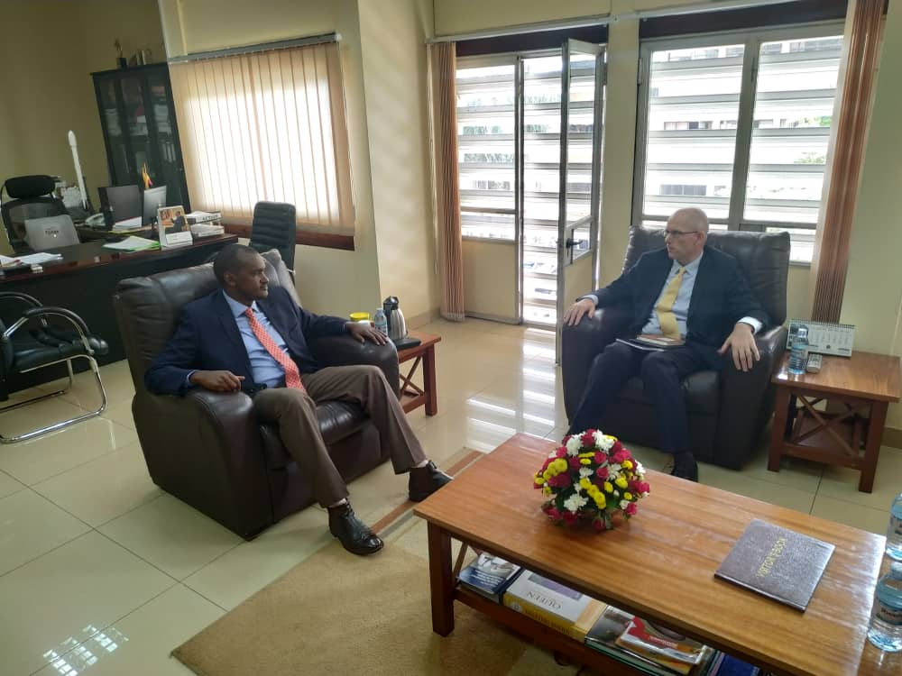 Happy to receive Mr Tony Thompson Country Manager of @WorldBank Uganda this morning at @MoICT_Ug .