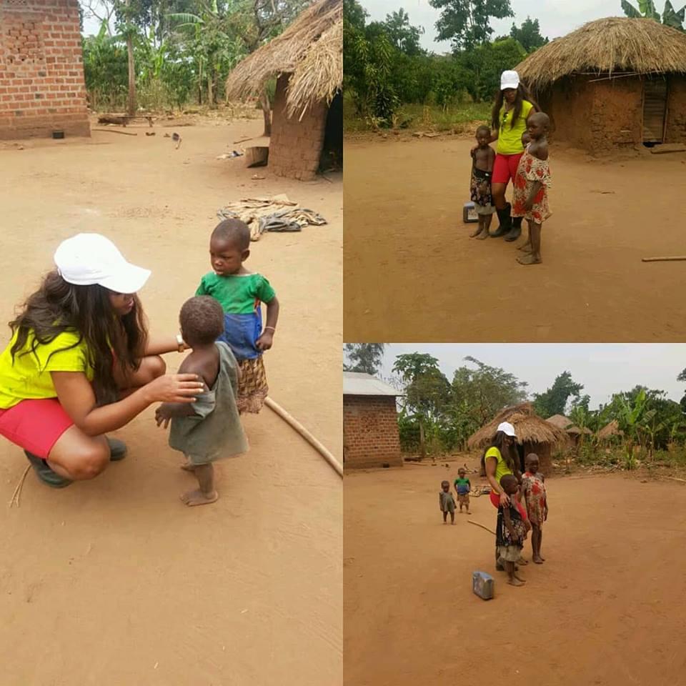 Singer Zanie Brown with some orphans. (PHOTO BY ZANIE MEDIA)