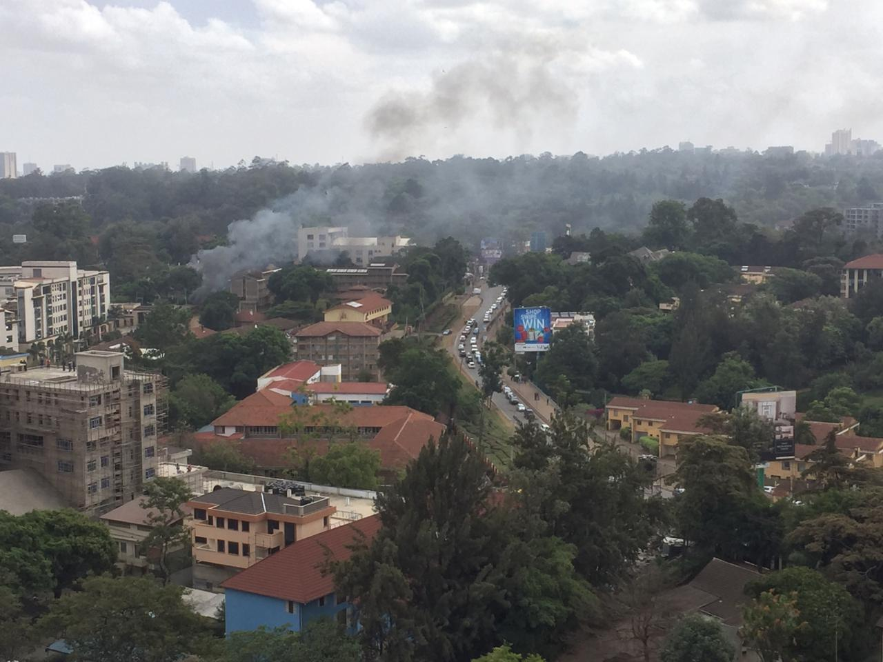 Smoke billowing from 14 Riverside after an explosion at the area. (PHOTO BY CITIZEN TV)