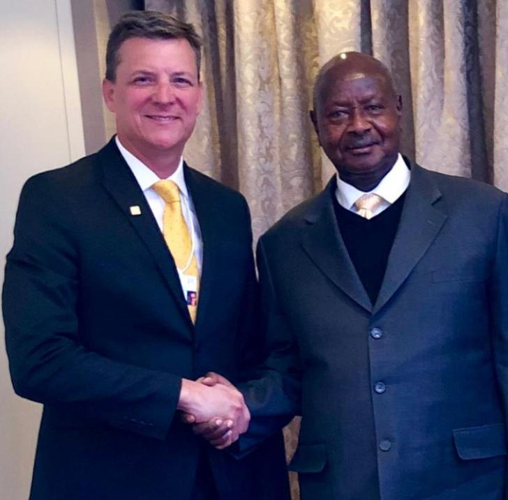 MTN Group CEO Rob Shuter with the Ugandan President Yoweri Kaguta Museveni in Davos, Switzerland. (PPU PHOTO)