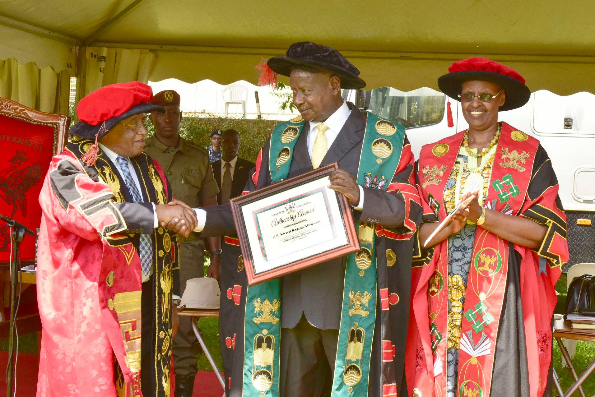 President Museveni receives an honour for authoring the Runyankore dictionary at the 69th Makerere University Graduation ceremony Tuesday Jan 15 (PPU PHOTO)
