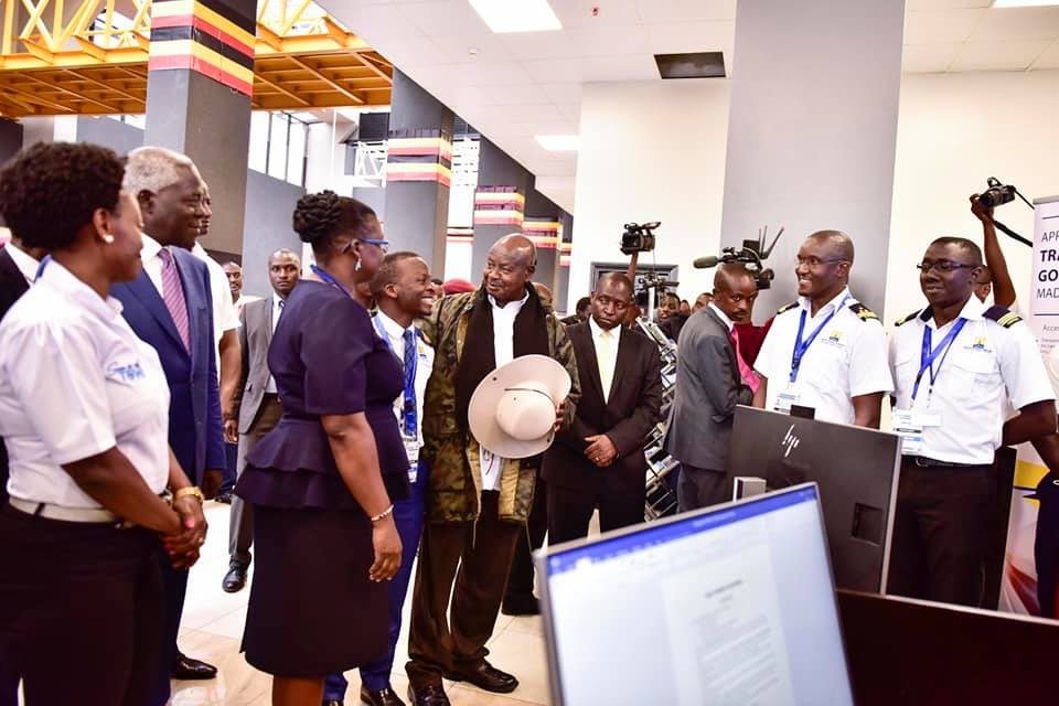 President Museveni shares an insight with URA Commissioner General, Doris Akol. He commended URA for their
