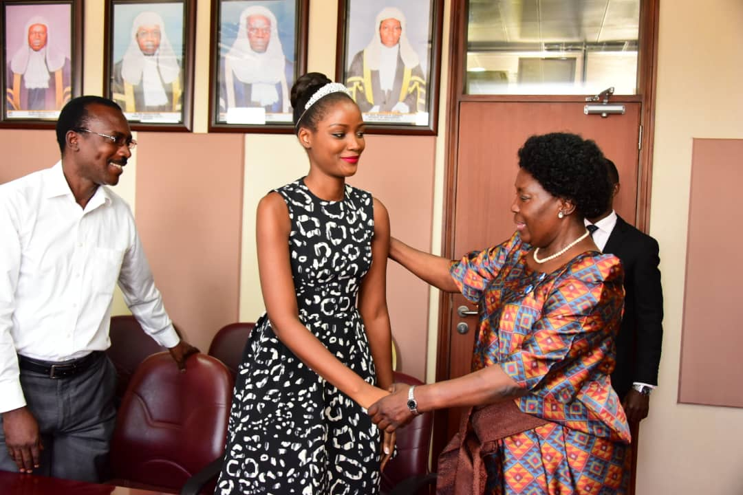 Speaker Rebecca Kadaga meet Miss World Africa and Uganda Quiin Abenakyo recently. The Tulambule n'E Quin tour has been postponed citing the Beauty Queen's receiving treatment. (FILE PHOTO)
