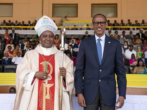 Rwandan President Paul Kagame shares a pictorial moment with the Newly Concecreted Archbishop of Kigali,  (RPU PHOTO)